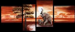 """Модульная картина """"Слоны в Африке"""""""