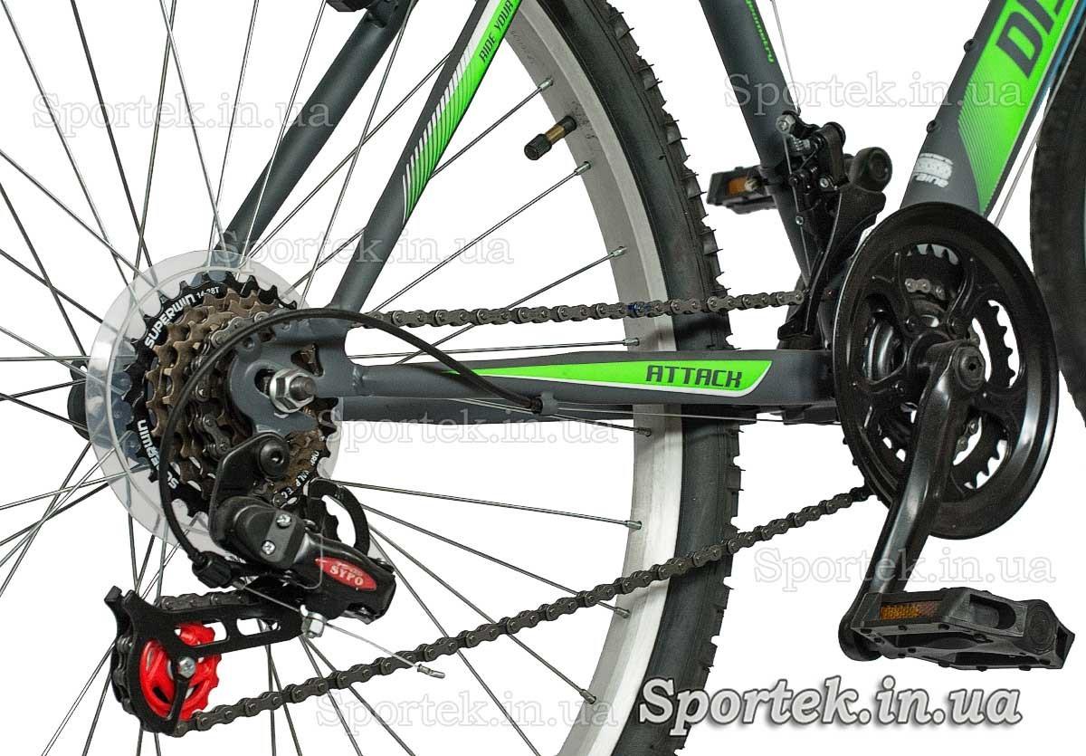 Трансмиссия городского мужского велосипеда Дискавери Атак 2016