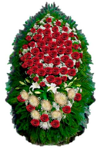 Траурный венок из живых цветов ВЖ 02 -150 см