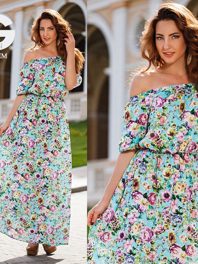 4fa6c6f9425 Длинное летнее платье с цветочным принтом купить в Москве. Интернет ...