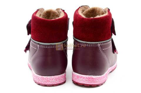 Ботинки для девочек Лель (LEL) из натуральной кожи на байке на липучках цвет бордо. Изображение 9 из 17.