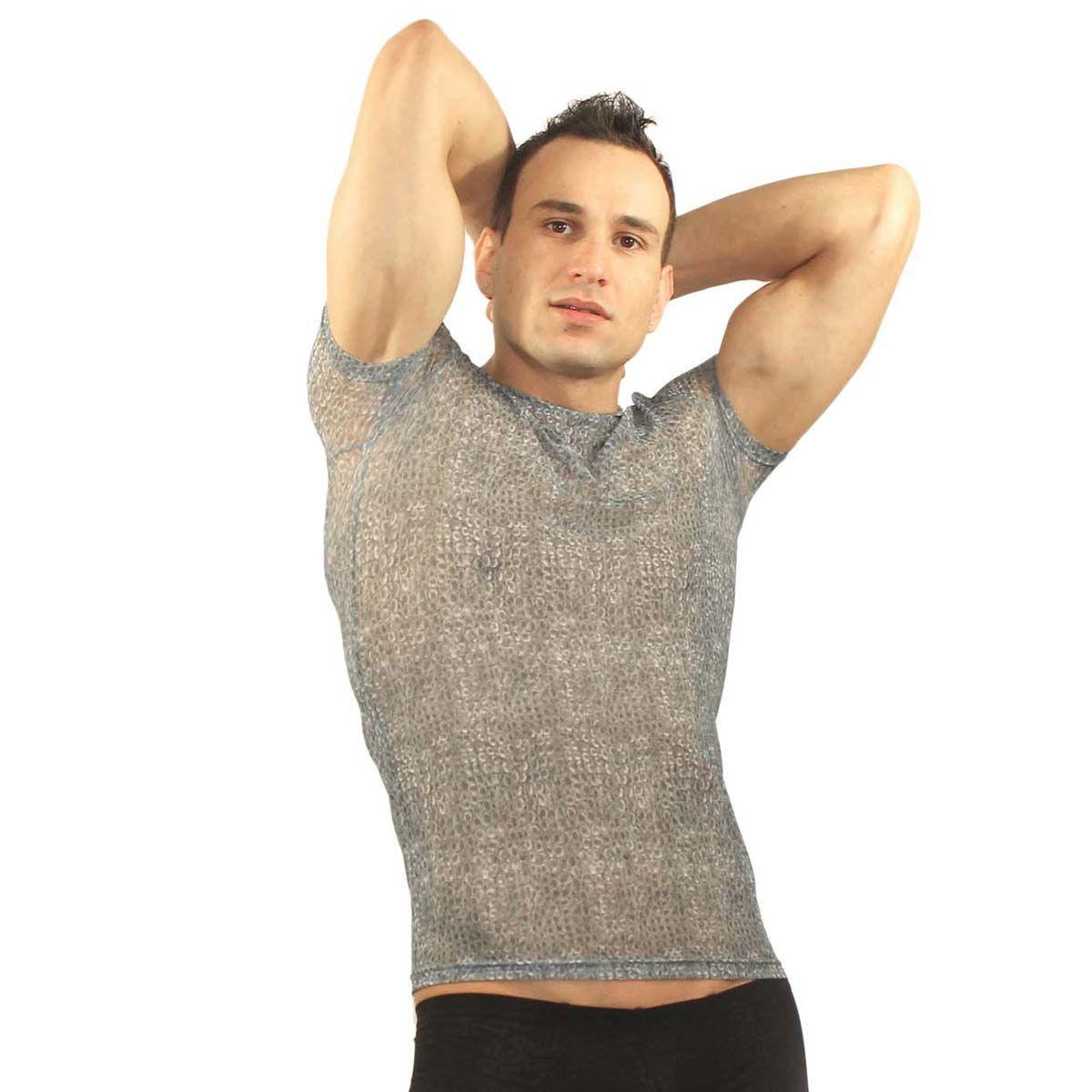 Мужское белье: Серая мужская футболка в облипку