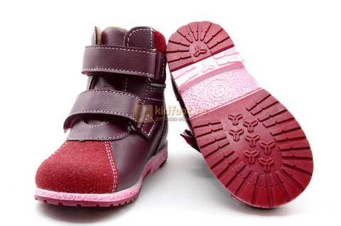 Ботинки для девочек Лель (LEL) из натуральной кожи на байке на липучках цвет бордо. Изображение 10 из 17.