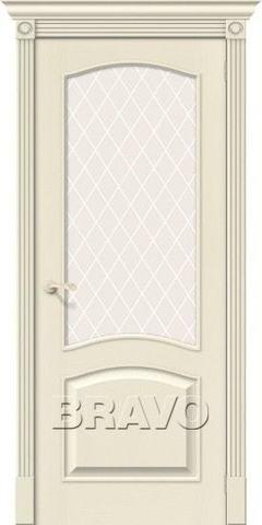 Дверь Bravo Вуд Классик-33, стекло White Crystal, цвет ivory, остекленная