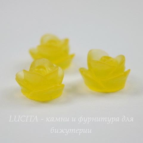 "Кабошон акриловый ""Розочка"", цвет - желтый, 13 мм"