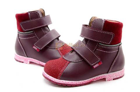 Ботинки для девочек Лель (LEL) из натуральной кожи на байке на липучках цвет бордо. Изображение 11 из 17.