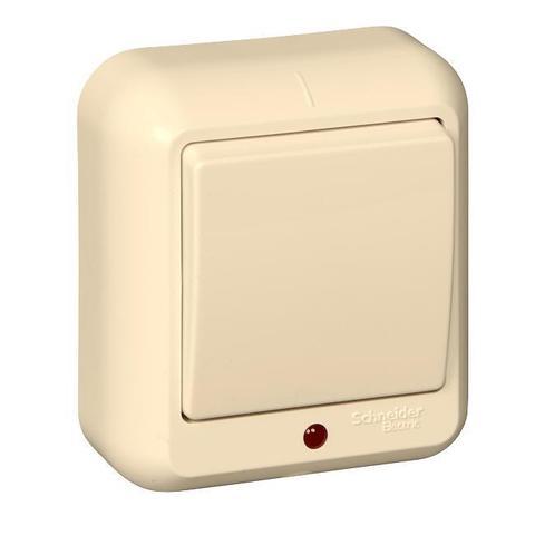 Выключатель одноклавишный с подсветкой и пластиковой пластиной 6 А 250 В в розничной упак. Цвет Слоновая кость. Schneider Electric(Шнайдер электрик). Prima(Прима). A16-046I-SI