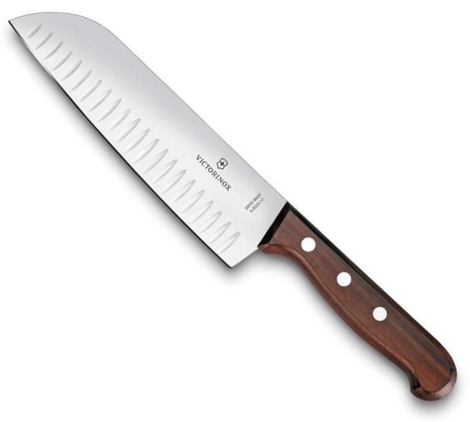 Нож Victorinox сантоку, лезвие 17 см рифленое, дерево (подарочная упаковка)