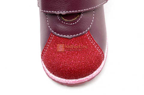 Ботинки для девочек Лель (LEL) из натуральной кожи на байке на липучках цвет бордо. Изображение 12 из 17.
