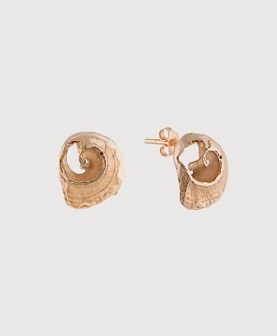 Серебряные серьги-пусеты в виде ракушек с золотым покрытием