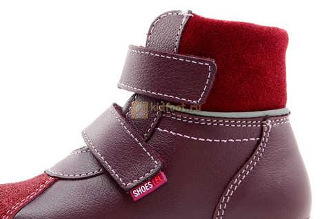 Ботинки для девочек Лель (LEL) из натуральной кожи на байке на липучках цвет бордо. Изображение 13 из 17.