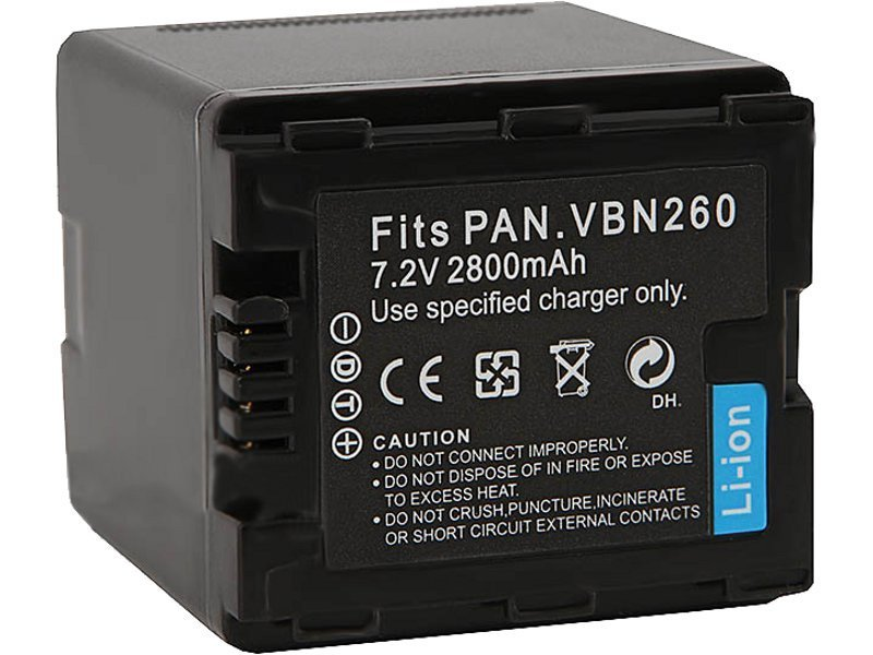 Аккумулятор FUJIMI VW-VBN260 (fully decoded) Батарея для цифровых фото и видеокамер Panasonic HC-X800, X900, X909, HDC-HS900, SD800,