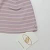 Шапочка розовая в полоску из тонкой шерсти мериноса