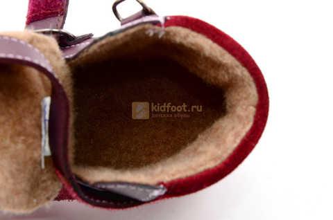 Ботинки для девочек Лель (LEL) из натуральной кожи на байке на липучках цвет бордо. Изображение 14 из 17.