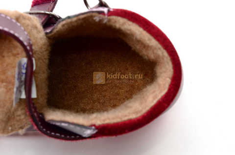 Ботинки для девочек Лель (LEL) из натуральной кожи на байке на липучках цвет бордо. Изображение 15 из 17.