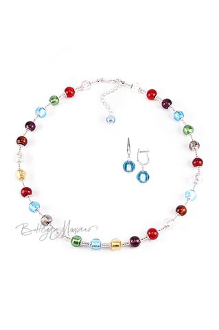 Комплект Carnavale Argento (голубые серьги на серебре, ожерелье)
