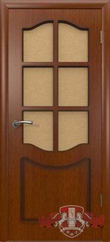 Дверь Владимирская фабрика дверей Классика 2ДР2, стекло бронза художественное, цвет макоре, остекленная