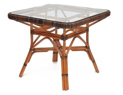 Стол обеденный со стеклом Йама (Yama) Коричневый