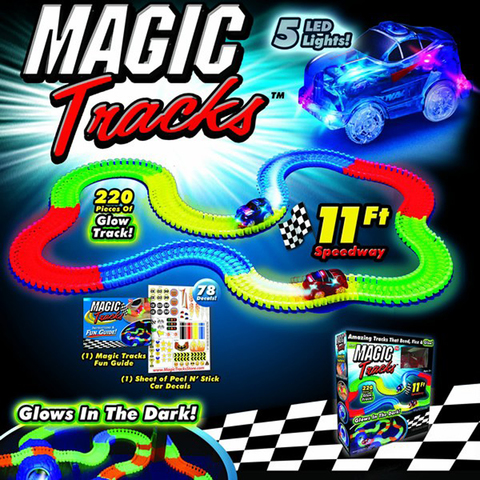 Светящийся конструктор трасса Magic Tracks 220 деталей