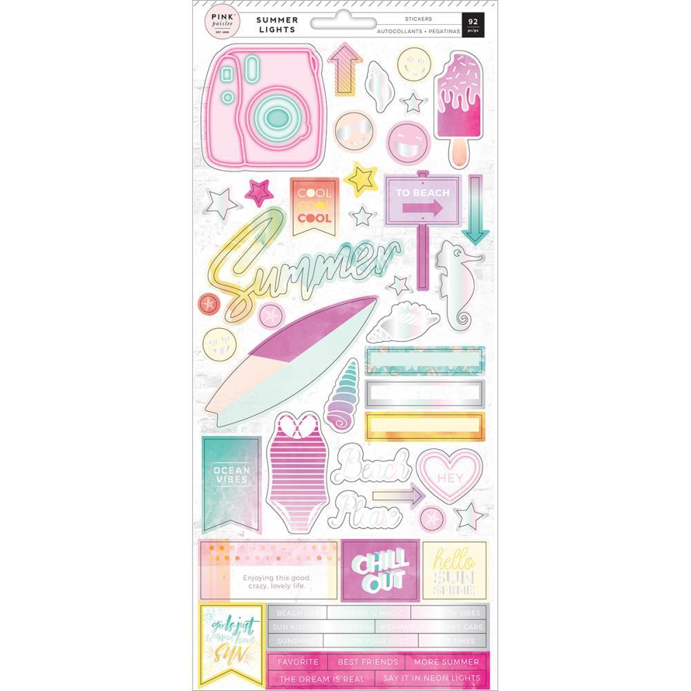 Стикеры Summer Lights - Pink Paislee  15х30см 92 шт.