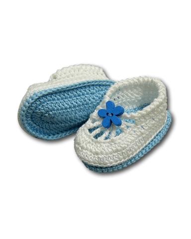 Вязаные туфли летние - Голубой. Одежда для кукол, пупсов и мягких игрушек.