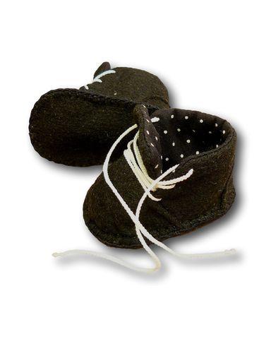 Ботиночки из фетра на подкладке - Черный / горох. Одежда для кукол, пупсов и мягких игрушек.