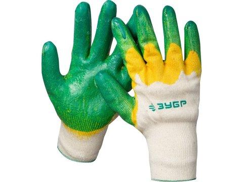 ЗУБР х2 ЗАЩИТА, размер L-XL, перчатки с двойным латексным обливом, 11459-XL
