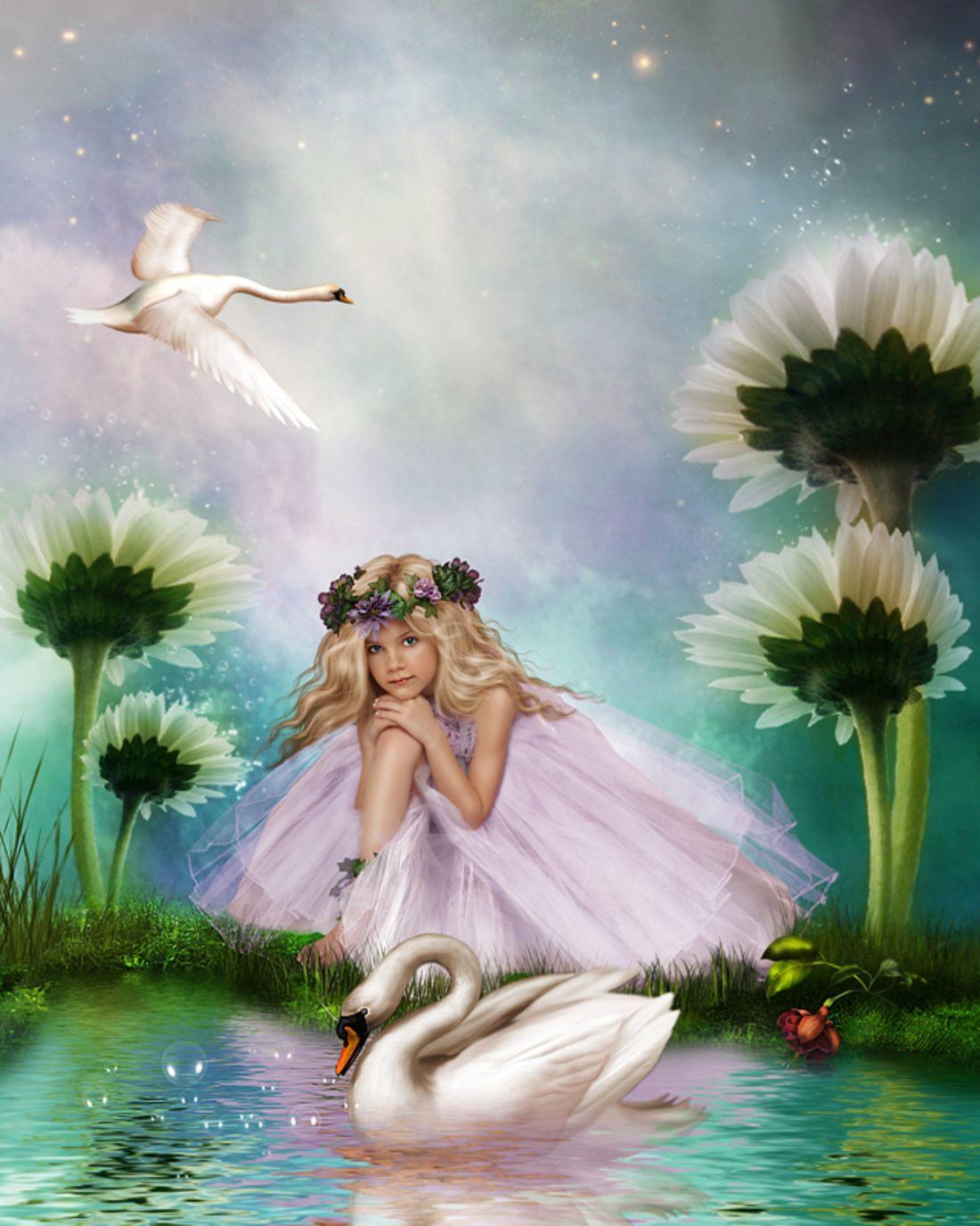 Картина раскраска по номерам 40x50 Дюймовочка с лебедем в ...