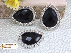 Камень-капля в стразовом обрамлении  черный