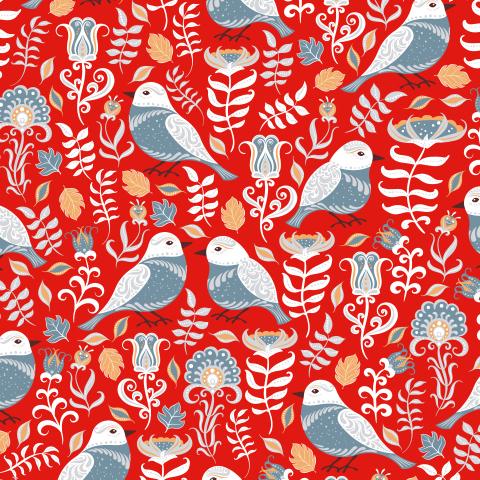 Серые птицы с орнаментами на красном фоне (Дизайнер Irina Skaska)