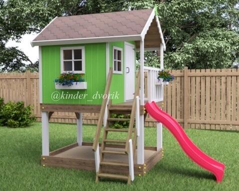 Деревянный игровой домик с горкой
