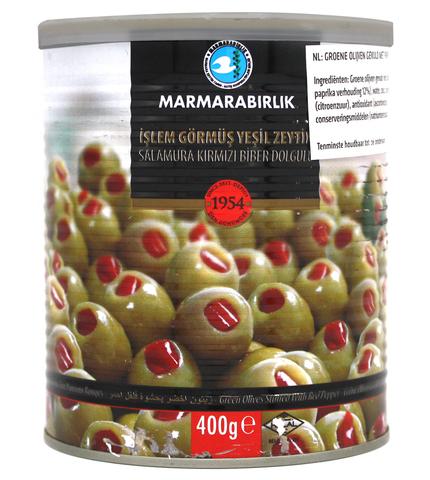 Оливки зеленые фаршированные перцем XL, Marmarabirlik, 400 г