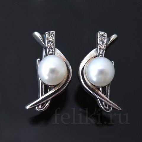 серебряные серьги с белым жемчугом и фианитами_фото