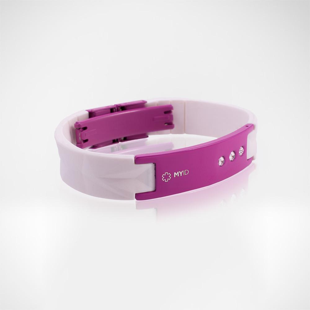Браслет Lifestrength T1i New MyID luxe белый/розовый со стразами