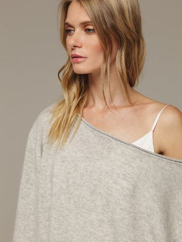 Женский серый джемпер свободного кроя из 100% кашемира - фото 2