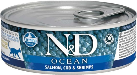 Консервы Famina N&D Cat Ocean Salmon, Cod & Shrimp для кошек
