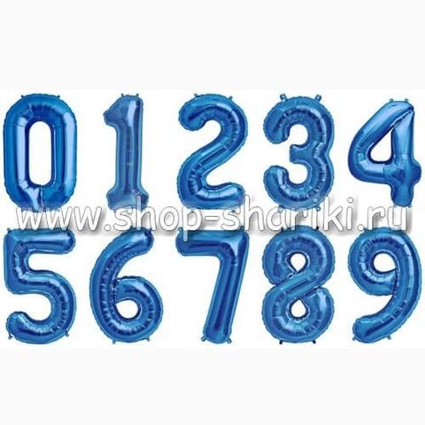 Шар цифра синяя