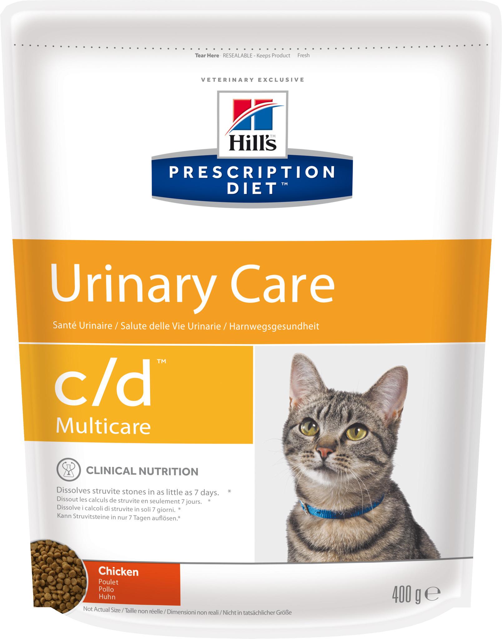 купить хиллс  диетический Hill's™ Prescription Diet™ Feline c/d™ Multicare Urinary Care сухой корм для взрослых кошек, профилактика МКБ с курицей 400 гр