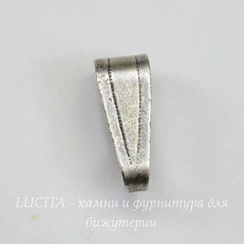 Винтажный декоративный элемент - бейл 10х4 мм (оксид серебра)