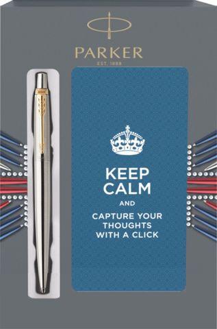 Подарочный набор с блокнотом и Шариковая ручка Parker Jotter Essential, St. Steel GT