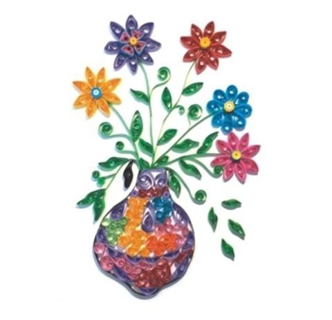 Квиллинг Цветы в вазе/М-8015