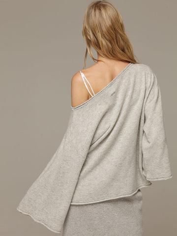 Женский серый джемпер свободного кроя из 100% кашемира - фото 3