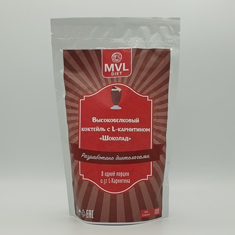 Смесь для высокобелкового коктейля с L-карнитином шоколад MVL, 300 гр