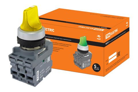Переключатель на 2 положения с фиксацией M2SS1-21Y короткая ручка(LED) d22мм/220B 1з+1р желтый TDM