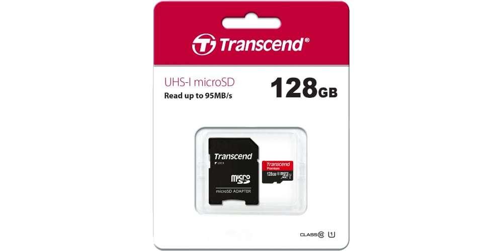 Карта памяти microSD 128GB Transcend microSDXC Class 10 UHS-I U1 (SD адаптер) в упаковке