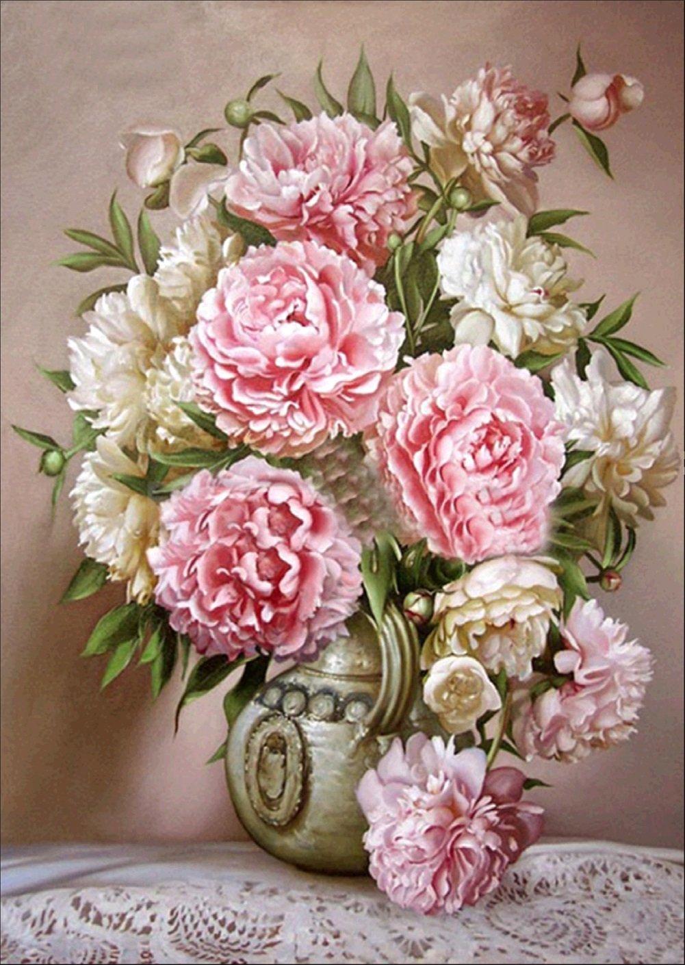Картина раскраска по номерам 30x40 Бело-розовый букет на ...