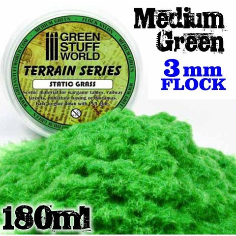 Static Grass Flock 3 mm - Medium Green - 180 ml