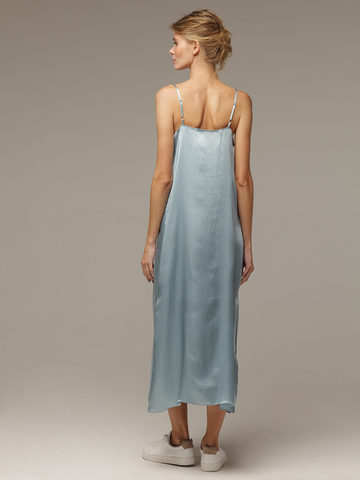 Light blue female dress made of 100% silk - фото 3