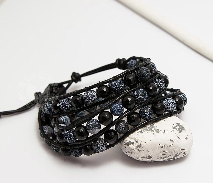 BS752 Массивный мужской браслет Чан Лу из камня, ручная работа фото 04