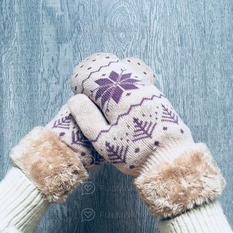 Варежки шерстяные вязаные со снежинками (цвет: бежевый)
